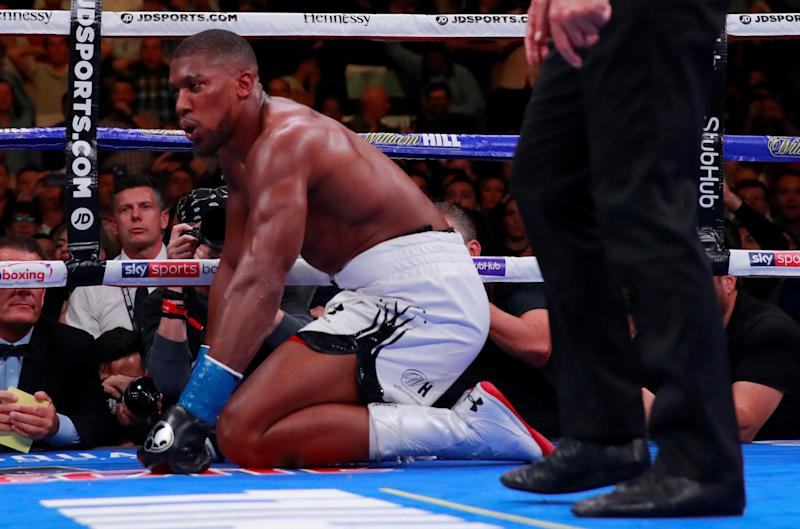 Boxing - Anthony Joshua v Andy Ruiz Jr - - Madison Square Garden, New York, United States - June 1, 2019 Anthony Joshua is given the count Action Images via Reuters/Andrew Couldridge