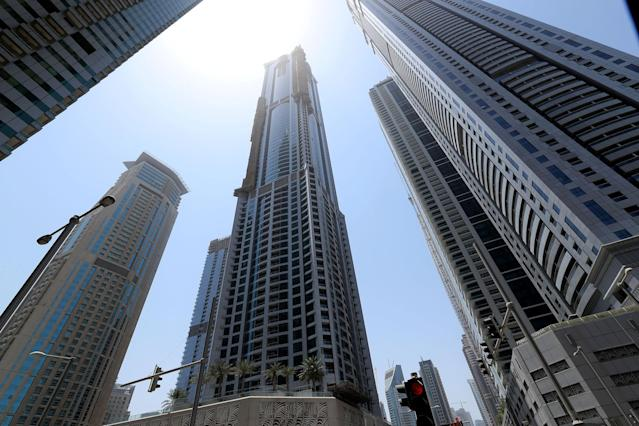 <p>The Torch tower residential building in the Marina district is seen after a fire, in Dubai, U.A.E., Aug. 4, 2017. (Photo: Hamad I Mohammed/Reuters) </p>