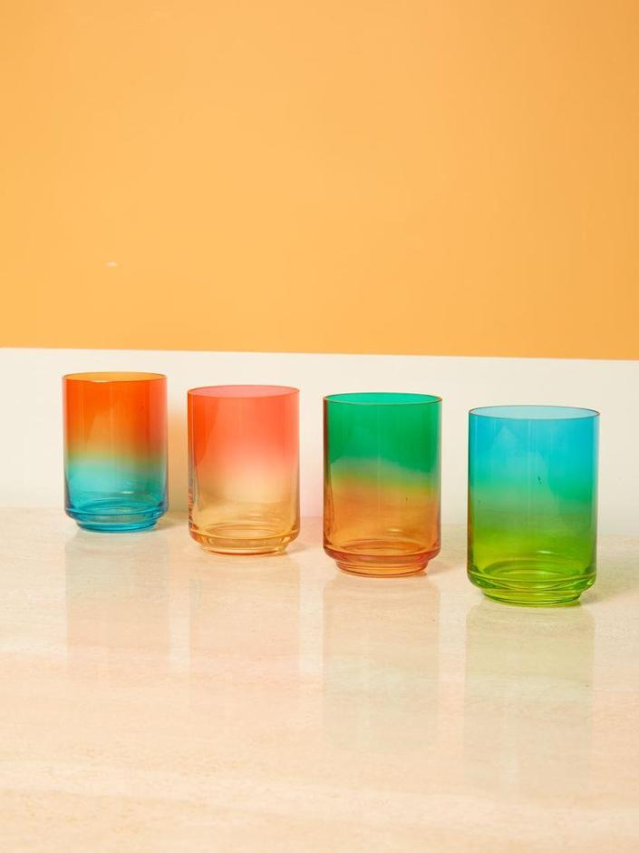 "Now here is how you say WELCOME TO MY HOME. Handblown, individually tinted, and designed by Lateral Objects, these glasses come in contrasting colorways that are inspired by beaches around the world. $42, Coming Soon. <a href=""https://comingsoonnewyork.com/products/gradient-glass"" rel=""nofollow noopener"" target=""_blank"" data-ylk=""slk:Get it now!"" class=""link rapid-noclick-resp"">Get it now!</a>"