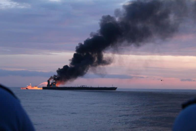 Fire rages on supertanker off Sri Lanka, one crew presumed dead