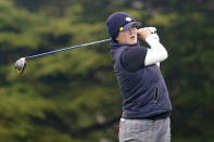 Angel Yin plays her shot from the second tee during the first round of the U.S. Women's Open golf tournament at The Olympic Club, Thursday, June 3, 2021, in San Francisco. (AP Photo/Jeff Chiu)