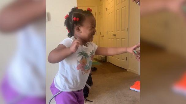 PHOTO: Shanell Jones of Fayetteville, North Carolina, shared footage of 4-year-old Kinley's progress in taking her first steps. Kinley was diagnosed with cerebral palsy at 2 years old. Here, Kinley is seen trying to walk in Jan. 2019. (Shanell Jones)