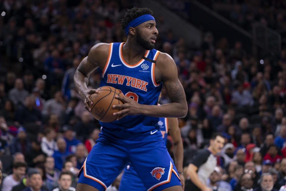 Mitchell Robinson #23 of the New York Knicks controls the ball against the Philadelphia 76ers at the Wells Fargo Center on February 27, 2020 in Philadelphia, Pennsylvania. NOTE TO USER: User expressly acknowledges and agrees that, by downloading and/or using this photograph, user is consenting to the terms and conditions of the Getty Images License Agreement. (Photo by Mitchell Leff/Getty Images)