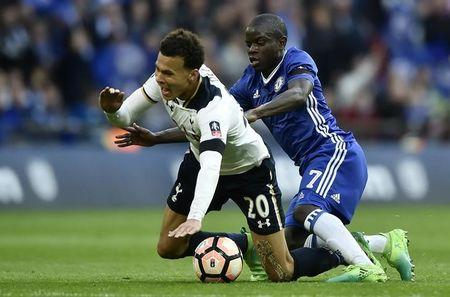 Britain Soccer Football - Tottenham Hotspur v Chelsea - FA Cup Semi Final - Wembley Stadium - 22/4/17 Tottenham's Dele Alli is fouled by Chelsea's N'Golo Kante  Reuters / Hannah McKay Livepic