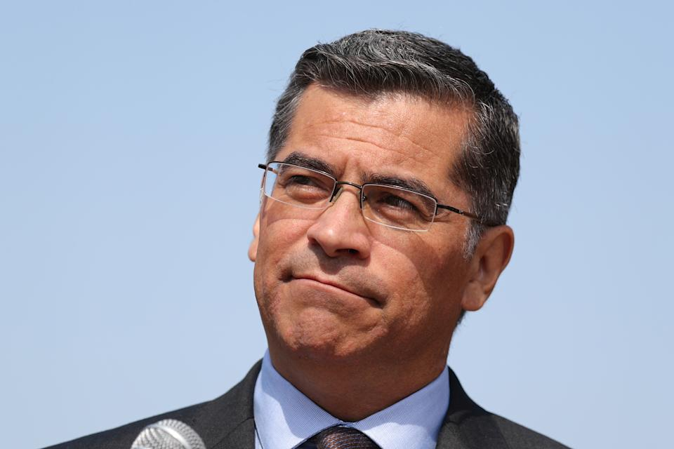 California Attorney General Xavier Becerra speaks about President Trump's proposal to weaken national greenhouse gas emission and fuel efficiency regulations, at a media conference in Los Angeles, California, U.S. August 2, 2018. REUTERS/Lucy Nicholson