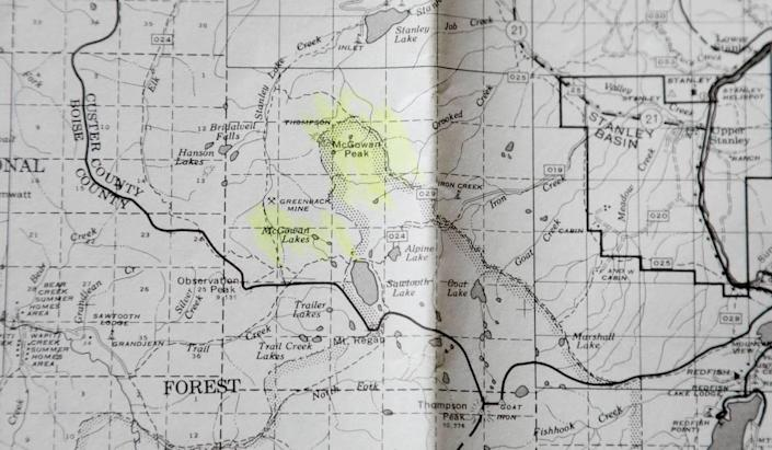 """This 1965 map from the Challis National Forest's Yankee Fork Ranger District shows McGowan Peak spelled correctly. Not only that, nearby McGowan Lakes and McGowan Creek are spelled with the """"a."""" In many maps and books it has been mistakenly printed as """"McGown."""" The peak was named after the late George L. McGowan of Challis, whose descendants still reside in Custer County today."""