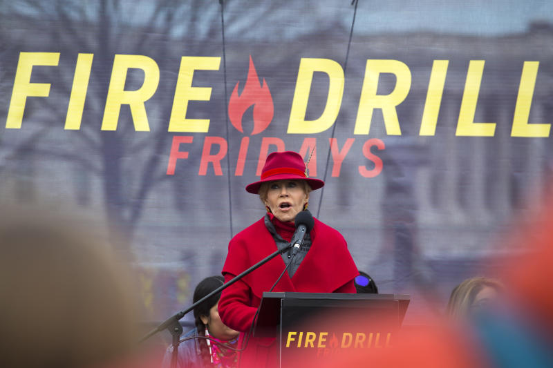 "Actress and activist Jane Fonda speaks for the last time during her ""Fire Drill Fridays"" demonstrations, calling on Congress for action to address climate change on Capitol Hill in Washington, Friday, Jan. 10, 2020. A half-century after throwing her attention-getting celebrity status into Vietnam War protests, Fonda is now doing the same in a U.S. climate movement where the average age is 18. (AP Photo/Jose Luis Magana)"