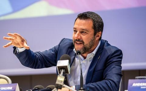 Matteo Salvini during the launch of an alliance of European nationalist parties in Milan - Credit: Federico Bernini/Bloomberg