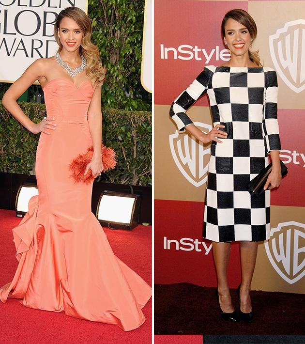 Why'd she do it? Jessica Alba nailed it on the Globes red carpet on Sunday in a strapless, coral gown – but she made a major misstep when she changed into less-fitted, black-and-white checkered Louis Vuitton. Let's blame her stylist Brad Goreski. (Didn't Rachel Zoe teach him anything?)