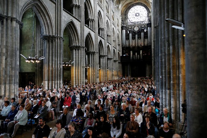 Mass in Rouen Cathedral on July 31, 2016 (AFP Photo/Charly Triballeau)