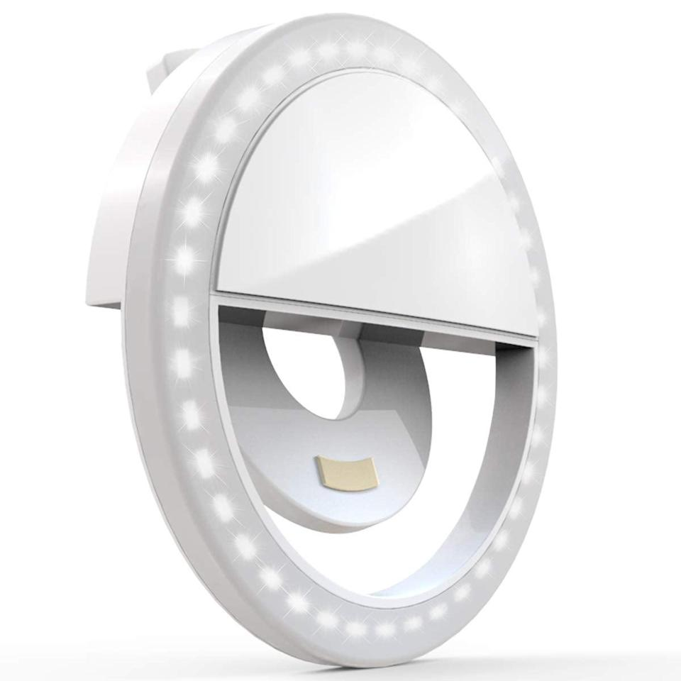 """<br><br><strong>Auxiwa</strong> Clip on Selfie Ring Light, $, available at <a href=""""https://amzn.to/3nGPq0S"""" rel=""""nofollow noopener"""" target=""""_blank"""" data-ylk=""""slk:Amazon"""" class=""""link rapid-noclick-resp"""">Amazon</a>"""
