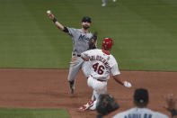 St. Louis Cardinals first baseman Paul Goldschmidt (46) is out at second as Miami Marlins second baseman Jon Berti, top, throws out St. Louis Cardinals' Nolan Arenado during the fifth inning of a baseball game Monday, June 14, 2021, in St. Louis. (AP Photo/Joe Puetz)