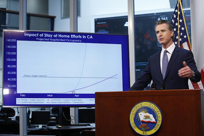 Gov. Gavin Newsom stands near a chart showing the impact of the mandatory stay-at-home orders, as he gives an update on the state's response to the new coronavirus, at the Governor's Office of Emergency Services in Rancho Cordova, Calif., Wednesday, April 1, 2020. Newsom announced that California schools will likely remain closed for the rest of the school year, but provide off-site education due to coronavirus pandemic. (AP Photo/Rich Pedroncelli, Pool)