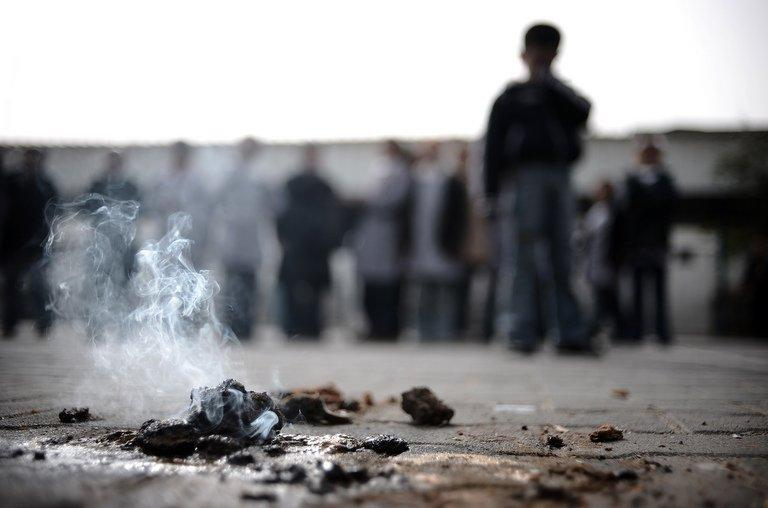 File illustration photo of white phosphorus, still burning. Myanmar on Saturday dismissed an independent report that alleged security forces used white phosphorus in a crackdown on a copper mine protest last year, which left dozens of people injured