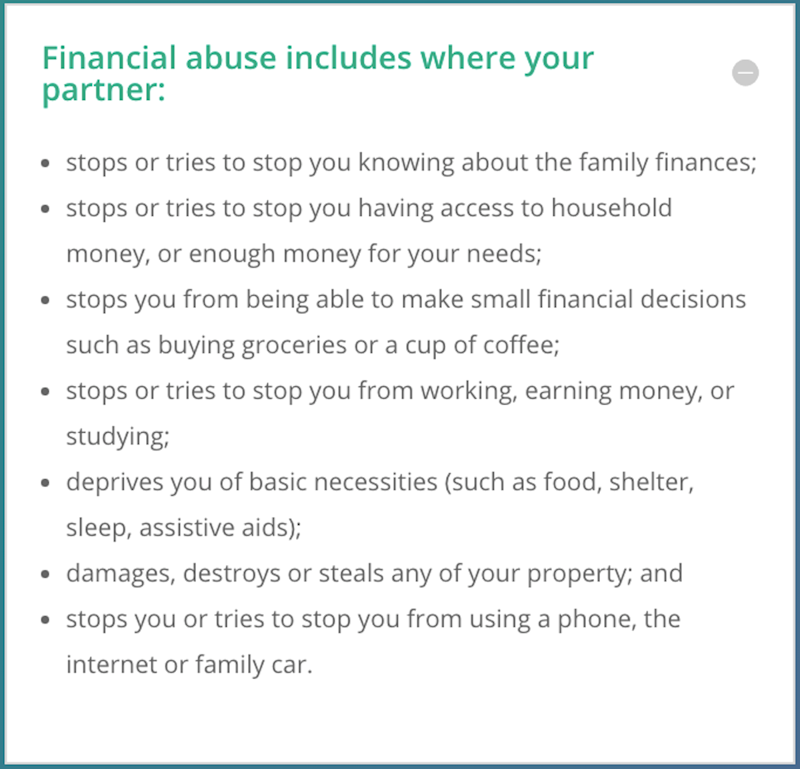 What is financial abuse? (Source: Your Toolkit)
