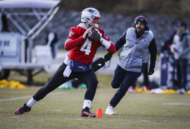 New England patriots quarterback Jarrett Stidham (4) has big shoes to fill. (Photo by Erin Clark for The Boston Globe via Getty Images)