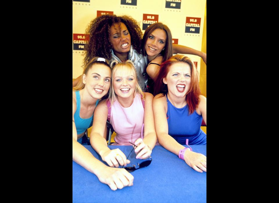 <strong>1996</strong>  The Spice Girls backstage at the Capital Radio Roadshow