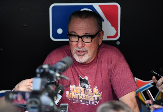 MIAMI, FL – MARCH 31: Joe Maddon #70 of the Chicago Cubs wearing a Loyola University shirt during a press conference before the game against the Miami Marlins at Marlins Park on March 29, 2018 in Miami, Florida. (Photo by Mark Brown/Getty Images)