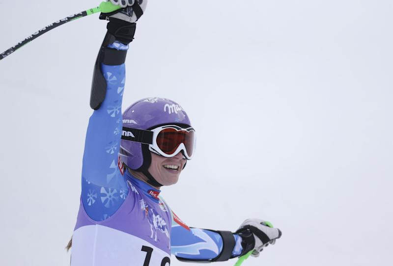 Slovenia's Tina Maze reacts after finishing the women's super-G at the Alpine skiing world championships in Schladming, Austria, Tuesday, Feb.5,2013. (AP Photo/Matthias Schrader)