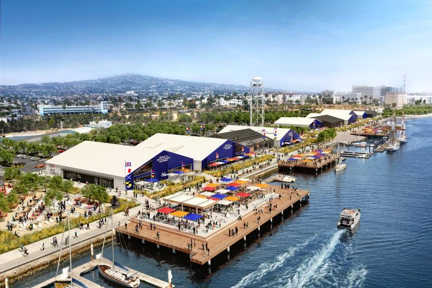 Rendering of West Harbor, an entertainment and shopping complex that will replace Ports O' Call Village as the key visitor attraction at the Port of Los Angeles in San Pedro.