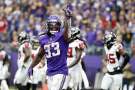Minnesota Vikings running back Dalvin Cook (33) celebrates after scoring on a 7-yard touchdown run during the second half of an NFL football game against the Atlanta Falcons, Sunday, Sept. 8, 2019, in Minneapolis. (AP Photo/Bruce Kluckhohn)