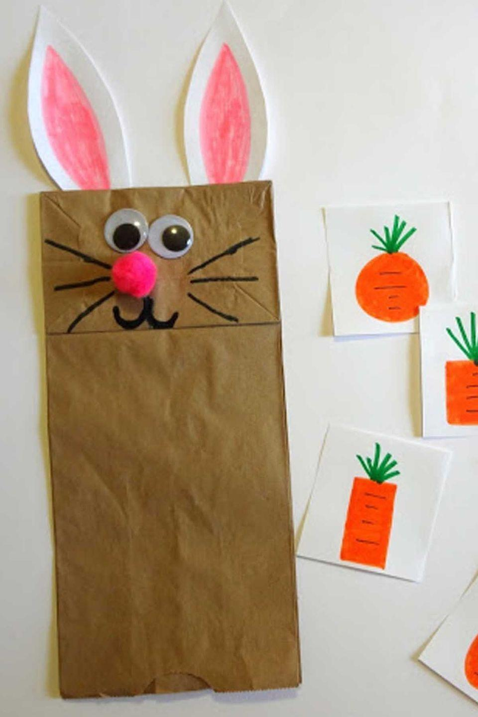 """<p>This adorable game is not only fun, but educational. The idea is to draw different carrot shapes on white pieces of paper and ask your child to choose the rectangular carrot, the round carrot, the square carrot and so on. If they get it right, the paper bag bunny will devour it right up!</p><p><em>Get the tutorial at <a href=""""http://www.littlefamilyfun.com/2013/03/feed-bunny-game.html"""" rel=""""nofollow noopener"""" target=""""_blank"""" data-ylk=""""slk:Little Family Fun"""" class=""""link rapid-noclick-resp"""">Little Family Fun</a>.</em></p>"""