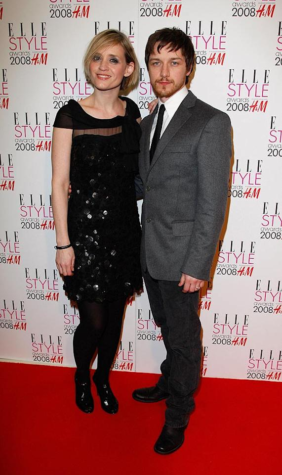 "Keira's dashing ""Atonement"" costar James McAvoy poses on the red carpet with his wife Anne-Marie Duff. The two met on the British drama ""Shameless,"" where they played a troubled couple. John Furniss/<a href=""http://www.wireimage.com"" target=""new"">WireImage.com</a> - February 12, 2008"