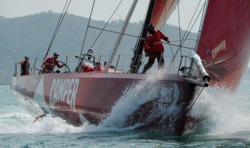Camper Team New Zealand competes during the Volvo Ocean Race at Sanya, Hainan Island