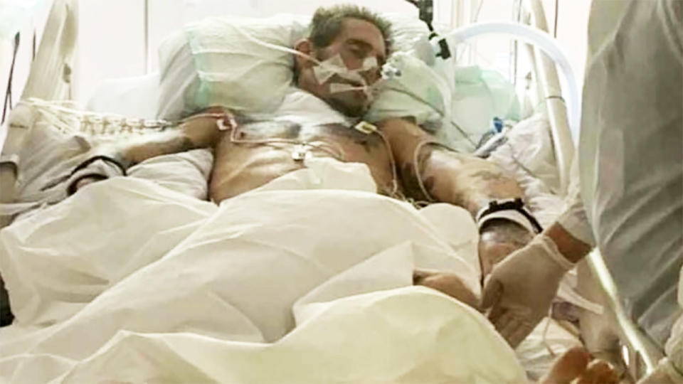 Brad Masters, pictured here on life support in hospital before his death.