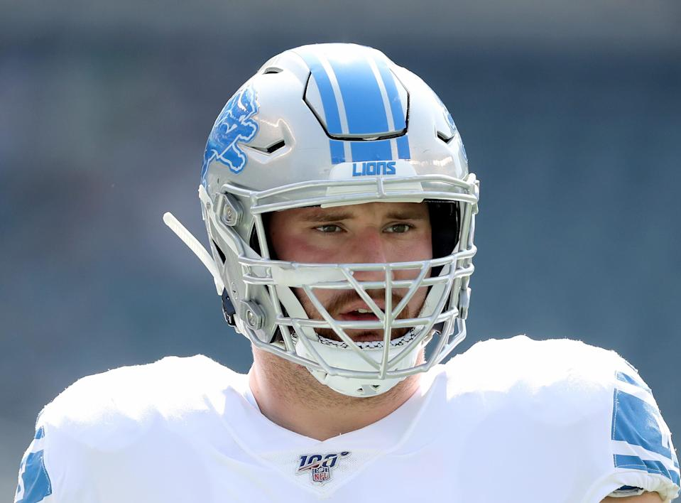 PHILADELPHIA, PENNSYLVANIA - SEPTEMBER 22:   Frank Ragnow #77 of the Detroit Lions looks on during warm ups before the game against the Philadelphia Eagles at Lincoln Financial Field on September 22, 2019 in Philadelphia, Pennsylvania. (Photo by Elsa/Getty Images)