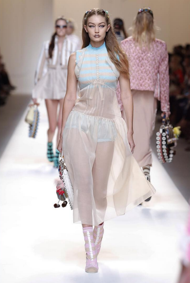 <p>Sister Gigi also took a turn down the Fendi runway in a cute babydoll outfit. <i>[Photo: Instagram/fendi]</i> </p>