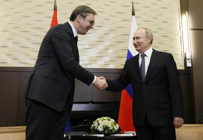 Russian President Vladimir Putin shakes hands with his Serbian President Aleksandar Vucic in the Bocharov Ruchei residence in the Black Sea resort of in Sochi, Russia, Wednesday, Dec. 4, 2019. (Shamil Zhumatov, Pool Photo via AP) Shamil Zhumatov/Pool