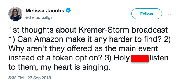 People thought Amazon Prime made it tough to find the Hannah Storm-Andrea Kremer broadcast. (Image via @thefootballgirl on Twitter)