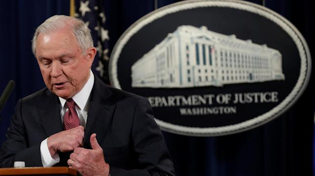 "WASHINGTON ― Attorney General Jeff Sessions gave an impassioned defense of the values of free speech on Tuesday, proclaiming that ""in this great land, the government does not tell you what to think or what to say."""