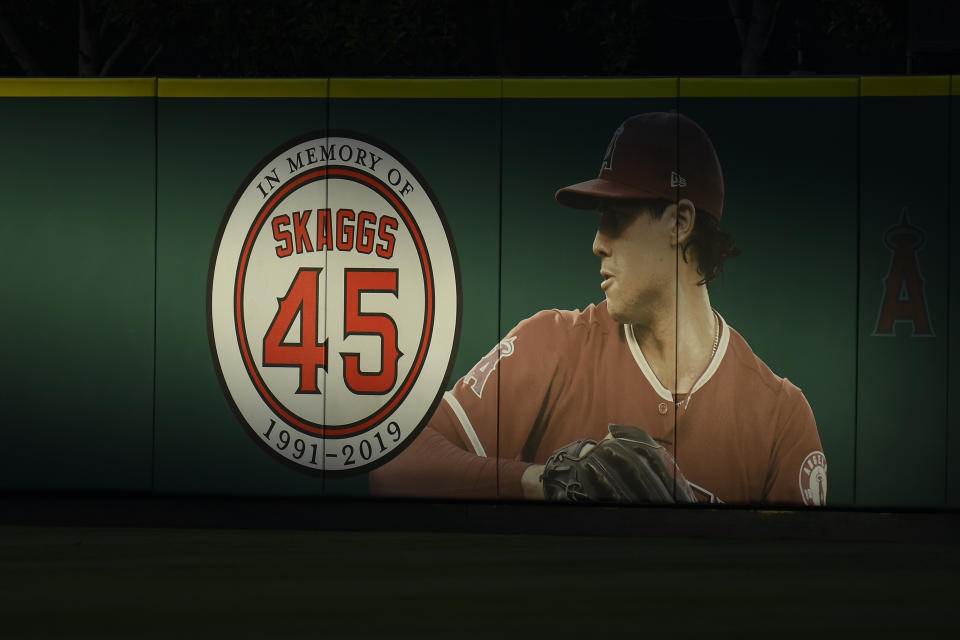 ANAHEIM, CA - AUGUST 31: The mural of Los Angeles Angels pitcher Tyler Skaggs (45) during a MLB game between the Boston Red Sox and the Los Angeles Angels of Anaheim on August 31, 2019 at Angel Stadium of Anaheim in Anaheim, CA. (Photo by Brian Rothmuller/Icon Sportswire via Getty Images)
