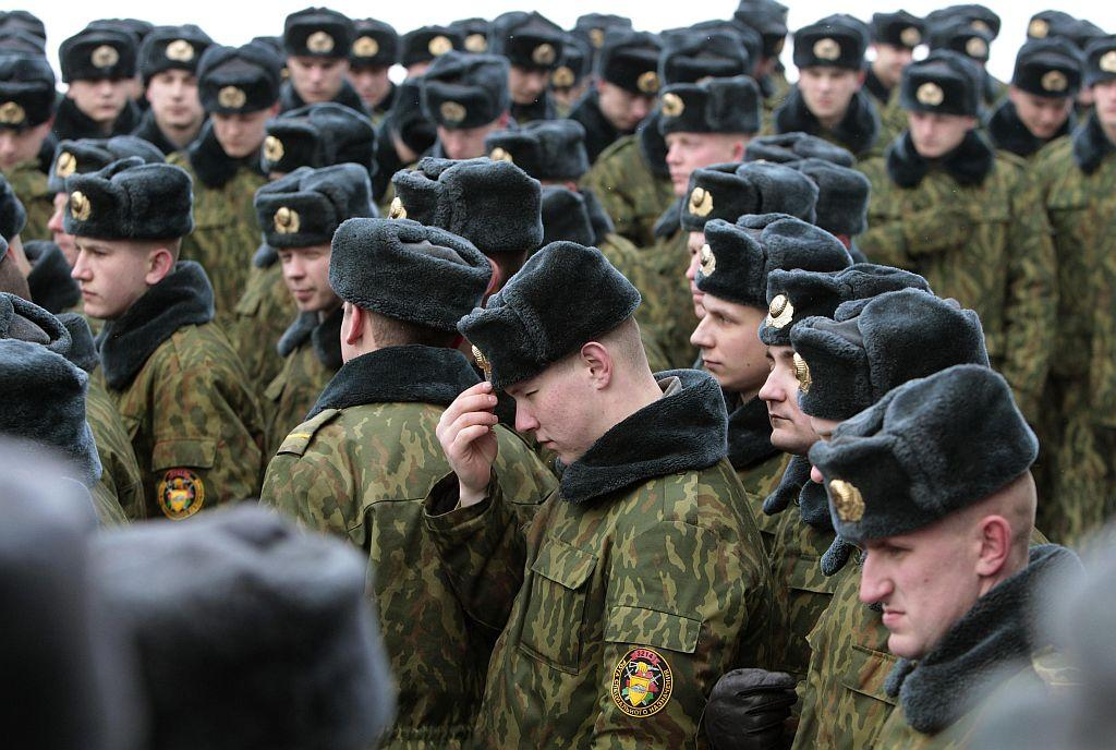 BELARUS: Servicemen of the Belarussian Interior Ministry's special unit attend a service at an Orthodox church at a military base in Minsk January 7, 2013. Most Orthodox Christians celebrate Christmas according to the Julian calendar on January 7, two weeks after most western Christian churches that abide by the Gregorian calendar.