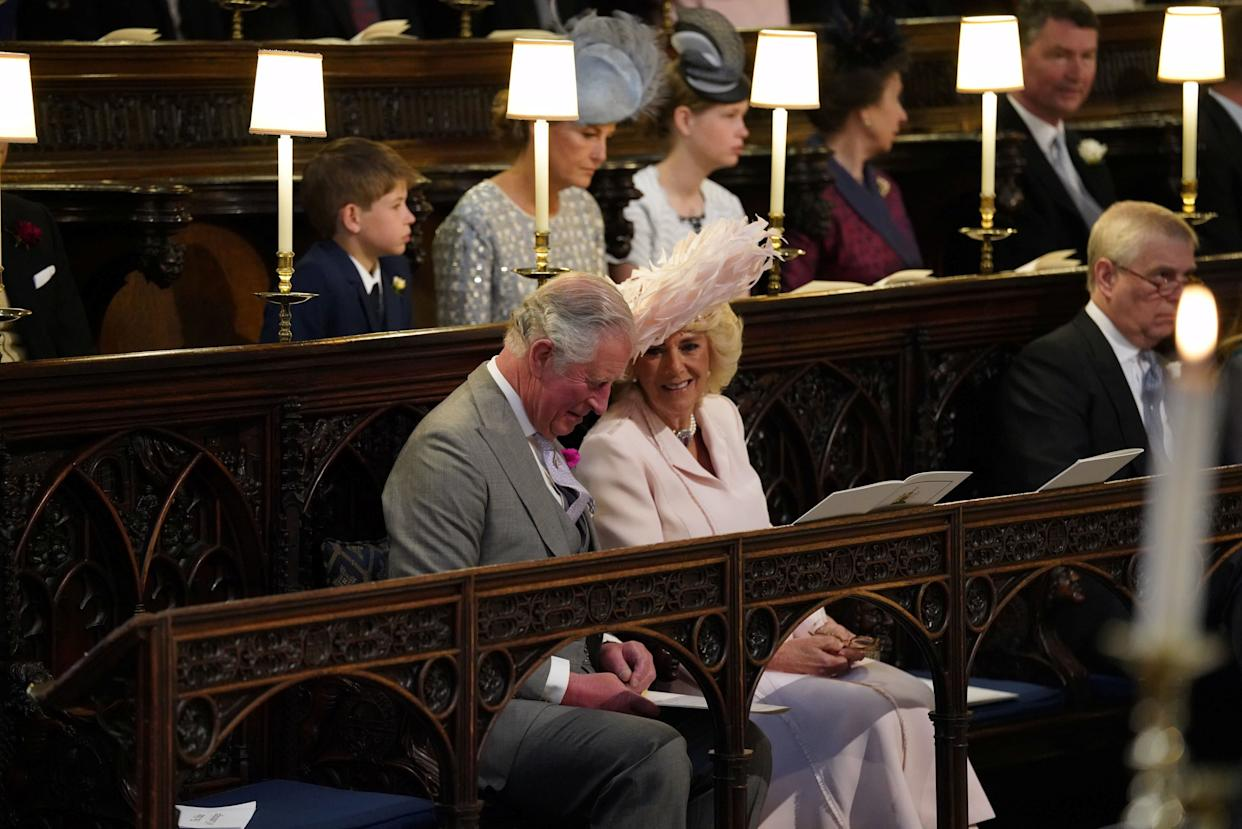 The Prince of Wales and the Duchess of Cornwall take their seats in St. George's Chapel.