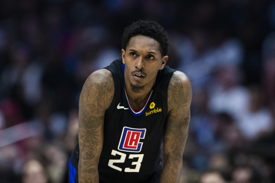 LA Clippers guard Lou Williams (23) during the NBA regular season basketball game against the Denver Nuggets on February 28, 2020, at Staples Center in Los Angeles, CA. (Photo by Ric Tapia/Icon Sportswire via Getty Images)