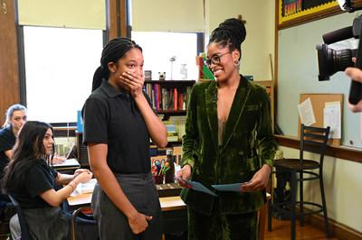 """Keke Palmer (right) of ABC's """"Good Morning America"""" visits Myah Mitchell (left) at her school in Queens, N.Y., Jan. 16, 2020, to surprise her live on air with the news Mitchell will be part of the 2020 class for Disney Dreamers Academy at Walt Disney World Resort in Lake Buena Vista, Fla. (Walt Disney Television/Lorenzo Bevilaqua)"""