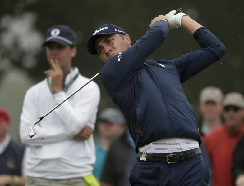 Justin Thomas tees off the seventh hole during a practice round for the U.S. Open Golf Championship, Wednesday, June 13, 2018, in Southampton, N.Y. (AP Photo/Julio Cortez)