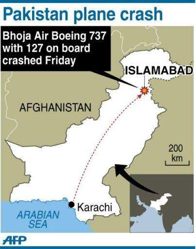Map locating Islamabad in Pakistan where all 127 people on board a passenger airliner that crashed Friday have been confirmed dead