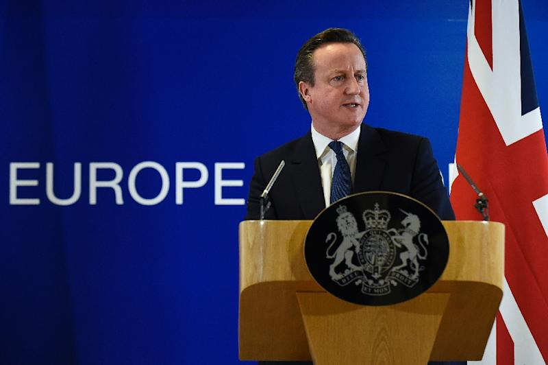 British Prime Minister David Cameron delivers a press conference on February 19, 2016, at a European Union (EU) summit in Brussels, after reaching a deal with European leaders on his reforms (AFP Photo/John Thys)