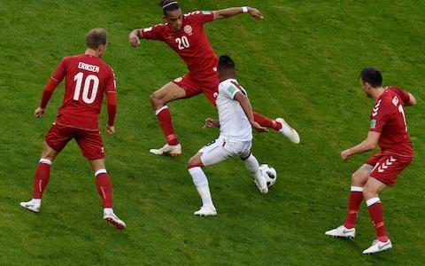 Yussuf Poulsen made up for conceding a penalty by scoring the decisive goal for Denmark in their Group C victory over Peru at the Mordovia Arena. Christian Cueva had ballooned the penalty – awarded after VAR consultation – over the bar just before half-time in the most glaring of several misses from the Latin American side, who were back in the World Cup finals after a gap of 36 years. Tottenham Hotspur playmaker Christian Eriksen had an otherwise quiet outing but provided the pivotal moment when he threaded an immaculate pass through the defence for Poulsen to beat advancing goalkeeper Pedro Gallese in the 59th minute. With France firm favourites to top the group and having picked up their first points with a 2-1 win over Australia earlier, both Peru and Denmark were desperate for victory to boost their chances of advancing to the next stage. Both teams arrived in Saransk with an identical 15-match unbeaten run and it appeared to be a matter of time before a bright-looking Peru, egged on by massive support at the stadium, would score. By contrast, Denmark started by playing long balls directed at their wingers to take advantage of their superior height, but mostly ended up playing catch-up to Peru's slick short passing game for the opening half hour. Peru, who left out all-time top-scorer Paolo Guerrero from their starting line-up, were awarded a penalty after consultation with the video assistant referee for Poulsen's foul. Yet Cueva struck an awful penalty, leaving the red-and-white clad Peru fans distraught. Guerrero came on after the hour mark and almost scored an equaliser but his header flew straight into the hands of goalkeeper Kasper Schmeichel. The marksman also came close when his audacious backheel trickled past a helpless Schmeichel and the post as Peru continued to be denied an equaliser. Match details Peru: Gallese (Veracruz); Advincula (Tigres), Rodriguez (Atletico Junior), Ramos (Tiburones Rojos de Veracruz), Trauco (Flamengo), Tapia (Feyenoord), Yotun (Orlando City), Carrillo (Benfica), Cueva (Sao Paulo), Flores (Aalborg), Farfan (Lokomotiv Moscow). Booked: Tapia. Subs: Guerrero (Flamengo, for Flores 62), Ruidiaz (Morella, for Ruidiaz 85), Aquino (Leon, for Tapia 87). Denmark: Schmeichel (Leicester); Dalsgaard (Brentford), Kjaer (Sevilla), Christensen (Chelsea), Larsen (Udinese), Kvist (Copenhagen), Eriksen (Tottenham), Delaney (Werder Bremen), Poulsen (RB Leipzig), N Jorgensen (Feyenoord), Sisto (Celta Vigo). Booked: Delaney, Poulsen. Subs: Braithwaite (Middlesbrough, for Sisto 67), Schone (Ajax, for Kvist 36), Mathias Zanka Jorgensen (Feyenoord, for Christensen 81). Referee: Bakary Gassama (Gambia). 7:23PM More football If you thought it stopped there, you were mistaken. Head over to our live coverage of Croatia vs Nigeria. That's all from me. 7:10PM Peru impressive Peru played well, but all too often they struggle with the scoring part. We saw that against New Zealand in the play-offs. Different match had they put away the penalty at the end of the first half, but that's football. Another great game in Russia. 7:03PM Group C as it stands 6:57PM All about Poulsen THE MAN.#ForDanmark#WorldCup#PERDENpic.twitter.com/yW2NyWRiaw— Fodboldlandsholdene (@dbulandshold) June 16, 2018 6:56PM FULL TIME - Peru 0 Denmark 1 The Peru players fall to the floor with their heads in their hands. This was more than just a group match, this was 38 years of waiting and it could've been very different. And now they must face France, and hope they are still rubbish. Cueva looks absolutely devastated. One unbeaten run comes to an end, the other continues. That's 16 unbeaten now for Denmark, and Schmeichel looked worth it. 6:53PM 95 mins - Peru 0 Denmark 1 Final throw... 6:52PM 92 mins - Peru 0 Denmark 1 Peru don't deserve to lose this, but Denmark have been very good at stifling them since going 1-0 up. Poulsen picks up a yellow card with a professional foul. 6:50PM Fans feeling it now Peru fans watch the World Cup in Lima Credit: GUADALUPE PARDO/Reuters 6:49PM 90 mins - Peru 0 Denmark 1 Jorgensen breaks, then falls down. How is he on the winning side? Cueva breaks but gets cut out. For all Peru's pace their decision making in attack leaves much to be desired. 5 mins added. FIVE. 6:46PM 87 min - Peru 0 Denmark 1 Tapia makes way. Pedro Aquino on. Attacking sub. Kitchen sinks everywhere. 6:45PM 86 mins - Peru 0 Denmark 1 Eriksen with a huge chance. Delaney with a yellow. It's all kicking off. Shots shots shots Peru vs Denmark shots on goal 6:44PM 85 mins - Peru 0 Denmark 1 Raul Ruidiaz comes on for Farfan. Electric player. Can he force a goal? 6:43PM 85 mins - Peru 0 Denmark 1 Great save! Carillo cuts back for Farfan who looks for all the world like an equaliser. Schmeichel again with the save. 6:42PM 84 mins - Peru 0 Denmark 1 Brilliant block from Advincula as Jorgensen has a golden opportunity to seal it. Peru leaving themselves open as they go in search of an equaliser. Time running out now. 6:40PM 81 mins - Peru 0 Denmark 1 Substitution Andres Christensen comes off for Huddersfield's Mathias Jorgensen. Big blow for Denmark as he looks injured. All set up for a big finale. 6:38PM 79 mins - Peru 0 Denmark 1 GUERRREE-NOOOOO It's scrappy as you like in the 6 yard box, and Guerrero finds space for a backheel. Schmeichel is beaten but it slips just wide. So close. Guerrero showing his class. 6:34PM Poulsen goal currently winning it for Denmark Peru vs Denmark 6:32PM 74 mins - Peru 0 Denmark 1 Suddenly Denmark have a corner. It hits the first man. Second corner...headed away. 6:30PM 71 mins - Peru 0 Denmark 1 Poulsen is the man at both ends. So close for Guerrero but Poulsen pulls off an excellent defensive header. All Peru now. 6:28PM 69 mins - Peru 0 Denmark 1 So close to an equaliser. Both Farfan and Carillo just miss out as Rodriguez headers across goal. Peru looking dangerous now, but they need to take one of these chances before Denmark get there act together. 6:26PM 67 mins - Peru 0 Denmark 1 Substitution. Sisto makes way for Martin Braithwaite. 6:23PM 65 mins - Peru 0 Denmark 1 Almost an immediate impact from Guerrero as he has a header saved. This game has picked up again. Can Peru make this momentum count? 6:22PM Cool as you like from Poulsen Such a cool finish from Poulsen Poulsen celebrates Credit: Stanislav Krasilnikov/TASS 6:21PM 62 mins - Peru 0 Denmark 1 That's woken Peru up. They may have 30 minutes to save their World Cup. I'm not being dramatic. Flores makes way for Guerrero. 6:20PM 61 mins - Peru 0 Denmark 1 Peru respond almost immediately as Flores gets a shot in from 12 yards. Great save by Schmeichel. Flores couldn't quite get everything behind it. Guerrero warming up. 6:18PM 59 mins - Peru 0 Denmark 1 GOOOOOAAAAAAAAAAAAALLLLLLL Advincula goes adventuring and Denmark have so much space. Eriksen plays in Poulsen down the left and he finds the corner. 6:15PM 56 mins - Peru 0-0 Denmark What a mess. What an absolute mess this is. Cueva gets in behind and he has to shoot, but he doesn't. He stalls and stalls until he finds Flores who falls over. There's an offside in there somewhere too. 6:13PM 54 mins - Peru 0 Denmark 0 Peru fans still in full voice. Peru fans show their support against Denmark Credit: Maja Hitij/Fifa 6:12PM 53 mins - Peru 0 Denmark 0 Eriksen with another free kick in a dangerous position. It's very poor. Barely left the ground and cleared by the first man. 6:10PM 50 mins - Peru 0 Denmark 0 Farfan played through by Cueva but he can't quite get ahead of Christensen. Then at the other end, Eriksen very nearly manages a shot from 10 yards, but Jorgensen's touch towards him was very poor. Honestly Jorgensen. 6:06PM 47 mins - Peru 0 Denmark 0 Peru just rushing to get the ball into Denmark's half, and giving it away far too easily. Sisto finds Jorgensen offside by roughly 9 yards. Does that count as a touch? 6:04PM Christian Cueva in good company Messi missed a pen today, so it can happen to anyone. It actually happens to Messi quite a lot. Players out for the second half. Is Cueva ready? 6:00PM VAR stealing the show This is going to be the VAR World Cup, you just know it. What gesture will the players dream up when they want a VAR check, like the equivalent of waving an imaginary yellow card? At the moment, I think player's are just pointing at the VAR box. Perhaps that'll do? Fine officiating in this match, and you have to say that it was a definite penalty. VAR put to excellent use even if Cueva absolutely roofed it. 5:56PM Danish disappointing Peru vs Denmark shots on goal Denmark have been very ordinary. Peru have dealt well with dead-ball situations, and never looked like conceding. Eriksen's been almost anonymous. He has to do so much more running in this Denmark side than when he plays in North London. Tapia and Yotun are doing a great join keeping him quiet. Denmark striker Jorgensen may as well have stayed at home. Has he touched the ball? 5:52PM Would Guerrero have done better? It's tough to watch, that's a really awful pen. Guerrero watching from the bench must be thinking he would've scored that. Cueva blasts the penalty over the bar Credit: Juan Barreto/AFP 5:49PM Half time. Eriksen with another corner but it comes to nothing, and the ref blows for half time. Peru, who have struggled to create anything in the last half an hour, should be going in 1-0 up. Cueva close to tears. The pressure has got to him there. 5:46PM 47 mins - Peru 0 Denmark 0 Unbelievable. Christian Cueva absolutely skies it. 5:46PM 46 mins - Peru 0 Denmark 0 PENALTY MISSED. 5:44PM 45 mins - Peru 0 Denmark 0 PENALTY PERU. VAR at it again! Here we go 2018! 5:43PM 44 mins - Peru 0 Denmark 0 VAR moment! Huge VAR moment. Cueva taken down in the area. 5:42PM 41 mins - Peru 0 Denmark 0 It's tense. There's a real feeling that whoever wins this will go through. Assuming they both beat Australia and both lose to France. After 36 years of waiting for Peru, does it all come down to one game? Gareca getting worked up on the touchline as Peru let Denmark get another diaganol ball into the box, and Poulsen just misses it for an open goal. Very close. Gareca shouts from the touchline Credit: Marcos Brindicci/Reuters 5:39PM 40 mins - Peru 0 Denmark 0 And breathe... Eriksen hits the wall and Schone smashes the rebound towards Peru's goal. Well saved by Gallese 5:38PM 38 mins - Peru 0 Denmark 0 Sisto bursts into life and Tapia is forced into a foul. Eriksen will take this one from less than 25 yards... 5:35PM 35 mins - Peru 0 Denmark 0 Kvist off on a stretcher. That escalated quickly. I hope he's okay. Lasse Schone on for Kvist as Denmark are forced into an early substitution. Kvist heads off on a stretcher Credit: Juan Barreto/AFP 5:33PM 34 mins - Peru 0 Denmark 0 Denmark down to ten men as they sort a substitution out. Peru's early tenacity has subsided a little, and this game is taking place almost entirely in the middle third. 5:32PM 33 mins - Peru 0 Denmark 0 Kvist is down. It's another knee, this time to the ribs. That's two knees now, and both from Farfan. He's 33! Give him a break. Then again, so is Ronaldo... 5:31PM 31 mins - Peru 0 Denmark 0 Guerrero watch. Could he have put that chance away? Christensen looks handy enough to take him I think. Guerrero watches from the bench Credit: Elsa/Getty images Europe 5:29PM 29 mins - Peru 0 Denmark 0 Almost! Carillo finds Farfan clear in the box and it's a brilliant challenge to deny him a shot at goal from 7 yards. 5:28PM 28 mins - Peru 0 Denmark 0 Thomas Delaney with a 25-yard sighter right over the bar. That's Denmark's first shot. Kvist takes a knee to the back, but he's good to carry on. 5:26PM 26 mins - Peru 0 Denmark 0 A few corners for Eriksen. The first is cleared well by Advincula, the second is cleared by Advincula. Advincula looks good. 5:24PM 24 mins - Peru 0 Denmark 0 A moment to breathe, time for a touch map. Peru playing very much outwide, Denmark playing very much through the middle. No surprise there. Denmark struggling to get into the middle of the final third. Peru vs Denmark 5:21PM 21 mins - Peru 0 Denmark 0 Denmark's Sisto looks handy, and he finds himself 8 yards out before being immediately crowded out by Peru shirts. Comes to nothing and eventually Peru win a free-kick. 5:19PM 18 mins - Peru 0 Denmark 0 Cueva surrounded by Denmark shirts Credit: Barreto/AFP Christian Cueva is Peru's main playmaker, but he's struggling today as Denmark crowd him out every time he gets the ball. Scrappy stuff. 5:16PM 17 mins - Peru 0 Denmark 0 Great tackle from Andreas Christensen, who turns a dangerous Peru attack into a Denmark goal kick with a wonderful sliding tackle. 5:15PM 16 mins - Peru 0 Denmark 0 Rodriguez with a header and it's a bad one. Within seconds we're at the other end of the field. Yes, it was a goal kick, but this game is being played at 100 miles an hour. 5:14PM 15 mins - Peru 0 Denmark 0 Peru on top now, their pace causing Denmark all sorts of problems. Corner. 5:13PM 13 mins - Peru 0 Denmark 0 It's all a bit messy, as both sides struggle to find any space in the final third. Peru's Renato Tapia doing well do keep Christian Eriksen occupied. He was exceptional when Peru beat Croatia in March. Didn't let Modric get a look in. CLOSE! Suddenly, Carillo does find space and forces and excellent save from Schmeichel. The goalie knocks it away and no one's there for the rebound. 5:08PM 9 mins - Peru 0 Denmark 0 Peru midfielder Yotun has the game's first sighter, and it's straight down the throat of Kasper Schmeichel. I had his Dad's photo on my wall as a boy. Runs in the family. 5:06PM 7 mins - Peru 0-0 Denmark The stadium's loud, and it doesn't sound like Danish... 5:04PM 5 mins - Peru 0 Denmark 0 Cueva loses the ball on the edge of the area and it's a dangerous ball from Jorgensen. Delaney can't find his feet and Peru clear. 5:03PM 3 mins - Peru 0 Denmark 0 Peru with some good early work breaking into the final third. They look up for this. Flores swings a ball in but it comes to nothing. Quick start. 5:00PM We're off! - Peru 0 Denmark 0 Peru get us underway 4:59PM Attacking formations Peru playing 4-3-2-1, expect Guerrero on for Farfan in the second half. Denmark have gone 4-3-3, with Eriksen dead centre. Moments away. 4:53PM Huge moment 61% of Peruvians have never seen their country at a World Cup. That's why there was an earthquake when they qualified. As well as a national holiday. Peru fans enjoy pre-match atmosphere at the Mordovia Arena Credit: Clive Mason/Getty Images Europe 4:51PM Denmark manager with some tough choices Danish manager Age Hareide had some difficult decisions to make in choosing his squad. He named a 35-man preliminary squad, deciding to omit Nicklas Bendtner who had a great season at Norweigan side Rosenborg BK. Yes, really. Hareide says he isn't fit. Bendtner says he is. Either way, Danish fans were disappointed as Bendtner's the only striker Denmark have who's proven himself consistently at international level. Yes, really. 30 goals! 4:46PM Cracking atmosphere Stadium slowly filling up with red and white. Looks like Christmas. We kick-off in 15 minutes at the Mordovia Arena World Cup 2018 stadium: Mordovia Arena 4:42PM In Gareca they trust Guerrero's absence may be explained by the fact that he hasn't been allowed to step on a football field since December. He's had just two games back, and though he notched twice against Saudi Arabia, I think we've all discovered that isn't a big deal. Peruvians are unlikely to attack manager Ricardo Gareca for his decision. The Argentine is basically a hero in Peru, credited with creating their first golden generation since 1975s Copa America winning side. In Gareca they trust. 4:35PM Where will the game be won? Let us know... World Cup 2018 Simulator Single Game 4:25PM No surprises in the Denmark team Eriksen starts in midfield Denmark, alongside veteran William Kvist. Chelsea's Andreas Christensen is the youngest player in the Denmark squad, but the only player of real quality that they have in that defence. Edison Flores, who barely makes the bench for Danish team Aalborg BK, starts in attack for Peru alongside Jefferson Farfan and Watford's Andre Carillo. 4:14PM Guerrero benched The build up to Peru's World Cup has been all about this man, captain Paolo Guerrero, the nation's all-time top goalscorer who joined up with the Peru squad at the very last minute after a doping ban was lifted. After months of will he won't he, the only Peruvian ever to be nominated for the Balon d'Or is on the bench. Guerrero poses for his Fifa portrait Credit: Lars Baron/Fifa 4:06PM Here come the teams We're half-way through Super Saturday! Next up, we welcome #PER back to the #WorldCuppic.twitter.com/PAFlbO8EGi— FIFA World Cup �� (@FIFAWorldCup) June 16, 2018 After all that fuss, Guerrero's on the bench 3:56PM Group C anyone's guess On paper, this match looked like a second-place decider in Group C. But after watching France labour to a win over Australia earlier today, first place may just be up for grabs. Check out our match report for that one, where VAR very much stole the headlines. 3:45PM Peruvian fans going to great lengths to be in Russia Peruvian fans have generated some excellent hype in the past few days, with over 40,000 making the trip to Russia. One fan, on discovering there were only tickets left for the disabled section, piled on 50 pounds in order to qualify as morbidly obese. Football...it does things to people. Peru fans taking a selfie in Saransk ahead of the match against Denmark Credit: AP/Martin Meissner 3:29PM Two down, two to go What a day of football this is, and what an honour to provide you all with live updates from Peru vs Denmark, which for my money is the best of the lot. I wasn't even nearly born the last time Peru were in a World Cup finals. There last showing came in 1982, whilst Denmark's first World Cup was in 1986. You guessed it, this is the first ever encounter between the two nations, who are remarkably both on FIFTEEN-match unbeaten runs. The sides could not be more closely matched...their flags even have the same colours. Paolo Guerrero celebrates scoring in a World Cup qualifier against Venezuela Credit: Federico Parra/AFP There are no easy games in South American World Cup qualification, and Los Incas outscored the likes of Argentina, Colombia and Chile to get here. They even reached 11th on the Fifa rankings, if that means anything at all. They'll certainly want to have a go at Denmark, especially on the wings where they are fiercely quick, but whether they get a result may depend on whether they can keep Christian Eriksen quiet. The dead-ball specialist will look to exploit Peru's diminutive team (one of the smallest in the tournament), by providing excellent service to his countrymen (some of the tallest in the tournament). The Spurs midfielder also scored a whopping 11 goals in qualifying for his country, including a hat-trick against The Republic of Ireland in the play-offs. The worry is that if Eriksen fails to get into the game, Denmark have no plan B. If Peru can stop him they have some fine attacking players of their own, all wearing an absolutely wonderful shirt.