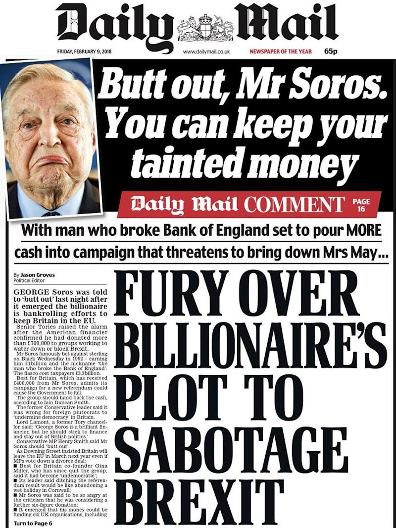 The Daily Mail attacked Best for Britain on its front page on Friday