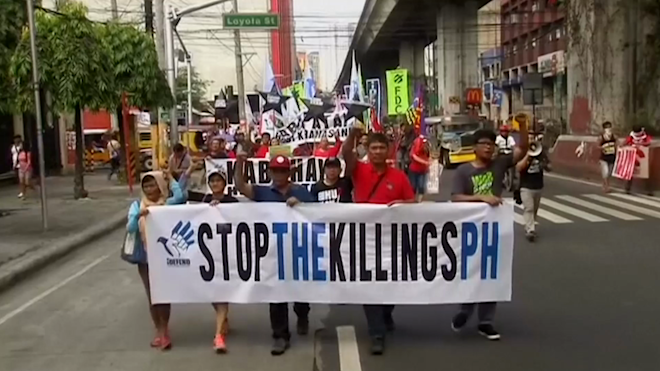 Filipino activists protest against Dutertes drug war killings