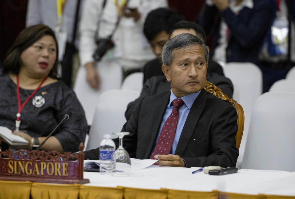 Singapore's Foreign Minister Vivian Balakrishnan attending the Special Asean-China Foreign Ministers' meeting on the Novel Coronavirus Pneumonia in Laos on 20 February 2020. (PHOTO: Associated Press)