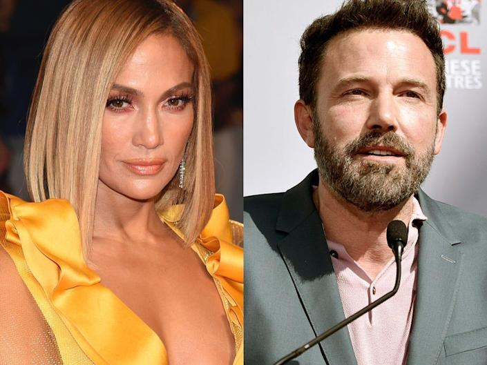 On the left: Jennifer Lopez wearing a yellow dress at the Toronto International Film Festival in September 2019. On the right: Ben Affleck wearing a pink shirt and blazer at the TCL Chinese Theatre in October 2019.