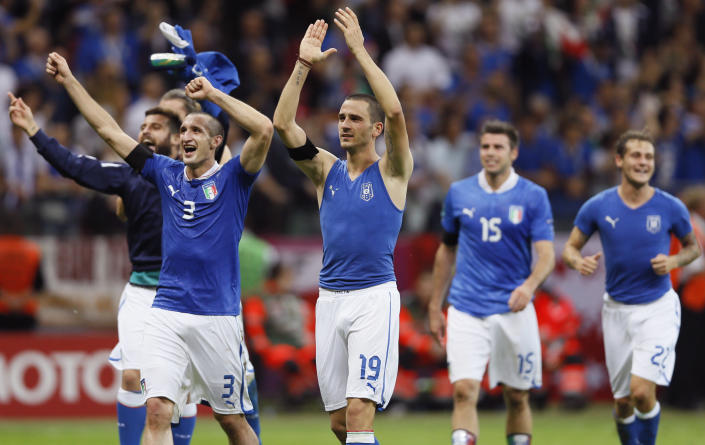 Italy's players celebrate their team's 2-1 win during the Euro 2012 soccer championship semifinal match between Germany and Italy in Warsaw, Poland, Thursday, June 28, 2012. (AP Photo/Frank Augstein)