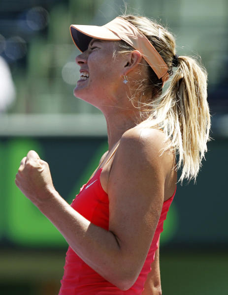Maria Sharapova, of Russia, reacts after breaking Ekaterina Makarova, of Russia, in the second set during the Sony Ericsson Open tennis tournament, Monday, March 26, 2012, in Key Biscayne, Fla. Sharapova won the match 6-4, 7-6. (AP Photo/Lynne Sladky)
