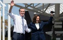 The Democratic Party firmament came out to shine for Newsom, including Vice President Kamala Harris (AFP/SAUL LOEB)